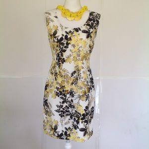 ~ANN TAYLOR~ sleeveless yellow & black dress